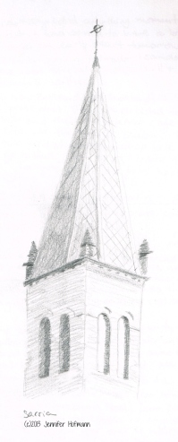 Sketch from my journal of the church steeple
