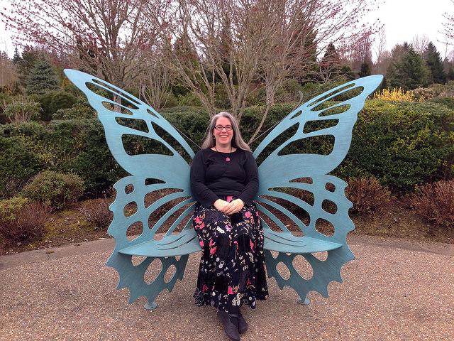 Jen in a butterfly suit