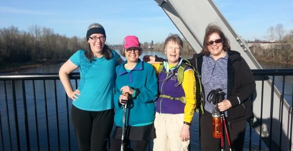 peregrinas on the train bridge in Salem